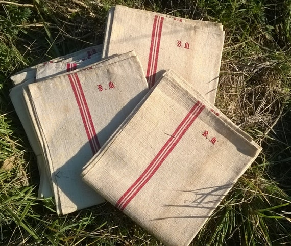 Victorian Kitchen Towel Large Thick French Linen Dish Cloth Unused Handmade Off White Red Line Rustic Tea Towel Monogram  #sophieladydeparis