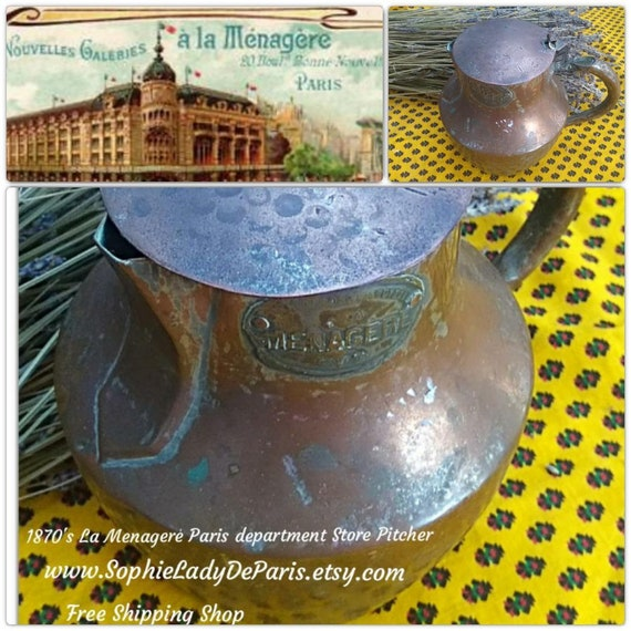 RARE 1870's Pitcher La Menagere Paris Copper Pitcher Lid Antique French Pot Department Store Tag Collectible Home Decor #sophieladydeparis