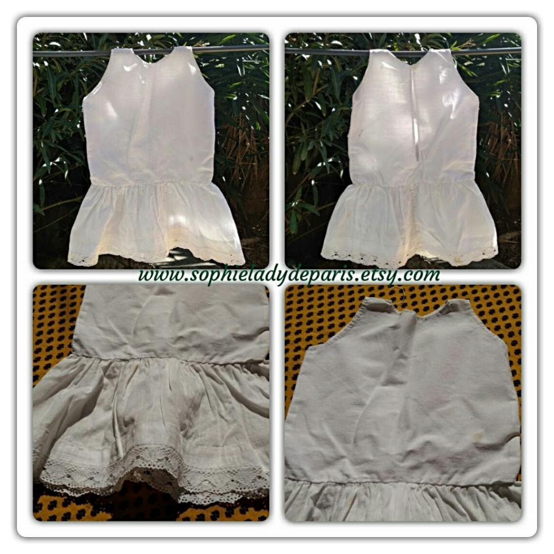 65119f312122 Antique French Girl Under Dress Slip White Hemp and Cotton Lace ...
