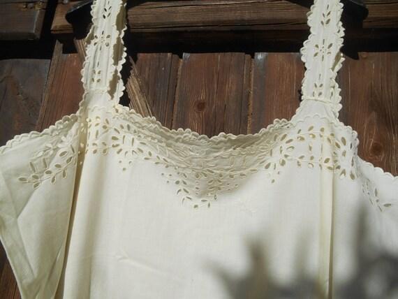 Victorian Slip Off White Dress Cut Work Lace Monogrammed French 1900's Cotton Slip Handmade Large #sophieladydeparis