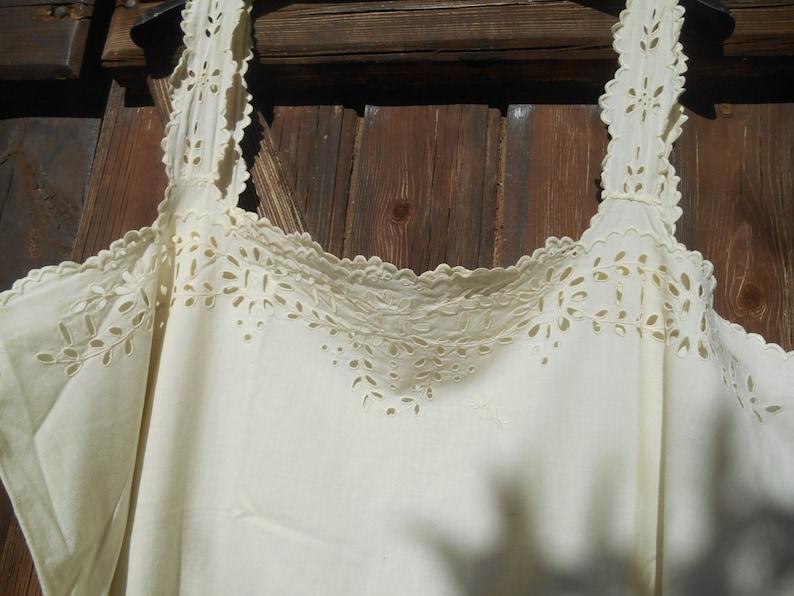 4377b6de28d Victorian Slip Off White Dress Cut Work Lace Monogrammed