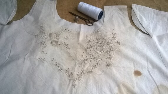 Victorian Dress RARE 1800's Unfinished White Cotton Art Embroidery Collectible Costume Restoration Museum  #3 #sophieladydeparis
