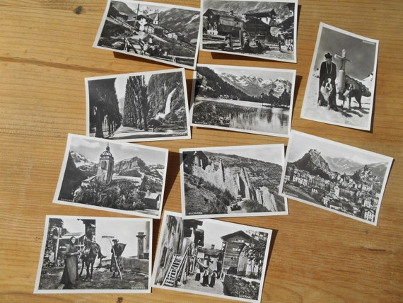 Rhône River 1939 Photos 10 Black White Photos Swiss Suchard Chocolate Bromide Photo Serie XVI showing Lakes Churches  #sophieladydeparis