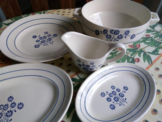"Blue ""Petite Fleur"" Dishes Demi Porcelain Salad Bowl Serving Dishes Saucer French Keller & Guerin #sophieladydeparis"