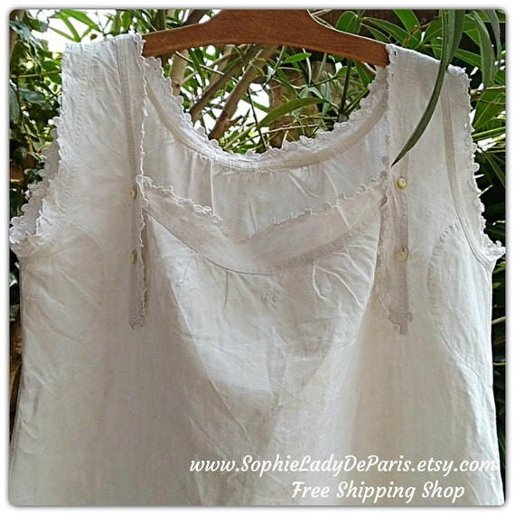 Rare Victorian Nursing Linen Dress Monogram Embroidered White French Nightgown Large/XL #sophieladydeparis