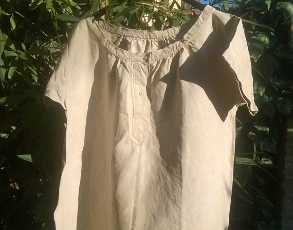 Rustic Victorian 1850's Linen Nightgown Unused Handmade French Country Side Red Monogram Medium Large Clothing Costumes #SophieLadyDeParis