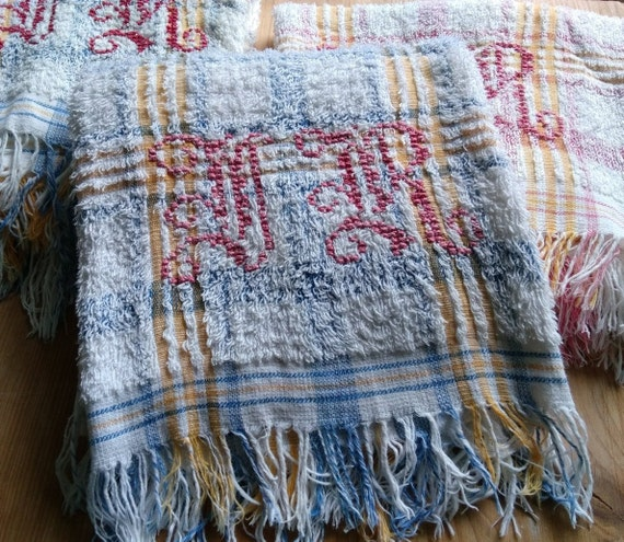 1930's Bath Towel French Cotton Sponge Blue Yellow Plaid Red Monogram Towel Fringed #sophieladydeparis