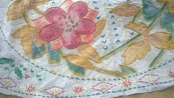 Floral Linen Fabric Hand Painted Embroidered Rustic Art Sewing Project Doily Runner Pillow Case #sophieladydeparis