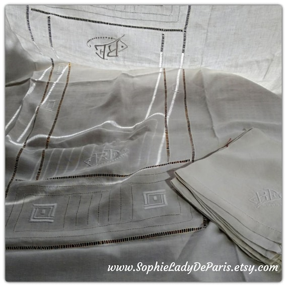 Art Deco Tablecloth & Napkins White French Linen 8 Matching Napkins 1930's Handmade Monogram Embroideries Ladder Work #sophieladydeparis