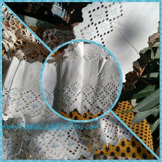 Antique Eyelet Lace Blue Floral Embroidered French Scalloped White Cotton Lace Haberdashery #sophieladydeparis