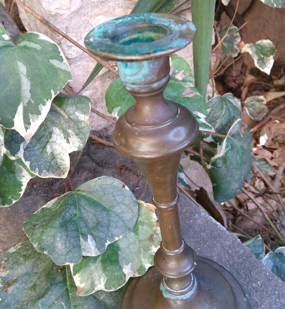 19th CandleHolder Century Rustic French Tarnined Brass Verdigris Industrial Decor #sophieladydeparis