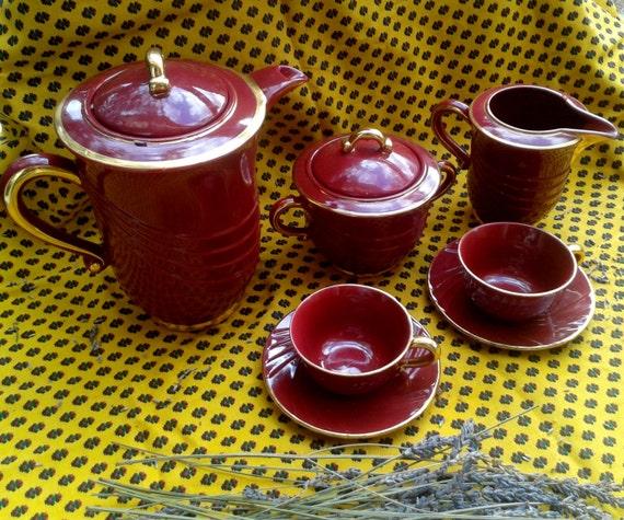 Red Art Deco Tea Set Porcelain French 1930s Red Gilded Tea Pot Creamer Sugar Bowl 2 Demitasse Saucer PL France Marks #sophieladydeparis