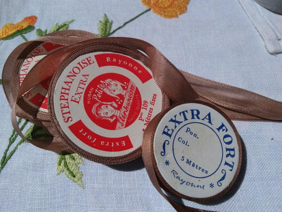 Antique Milk Chocolate Brown French Ribbons on 3 Rolls French Scriptures Antique French Haberdashery #sophieladydeparis