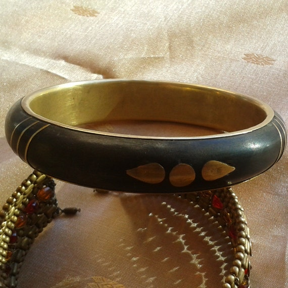 Gypsy Black Bangle Ebony Wood Brass Framed Handmade Semi Precious Wood Bracelet with Brass Inlay #sophieladydeparis