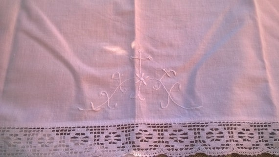French Cotton Church Altar Corporal Lace Trim Top Piece  Embroidered Crucifix White Victorian Runner #sophieladydeparis