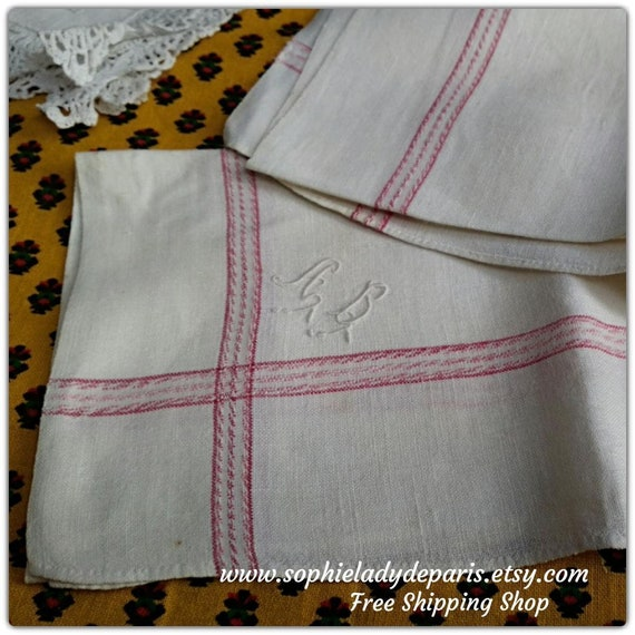 Antique Men's Handkerchief red and white plaid linen monogram Large French Fabric Tissue  #sophieladydeparis