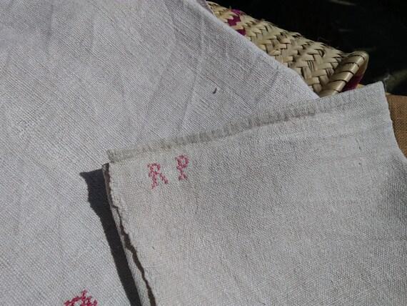 "Bath Towel Victorian 19th C. Hemp Bath Towel Thick Off White Hemp Red Monogram "" R P"" Rustic Woven #sophieladydeparis"