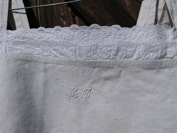 Victorian Linen Dress Monogram Eyelet Lace Trim French Nightgown or Slip Medium  #sophieladydeparis