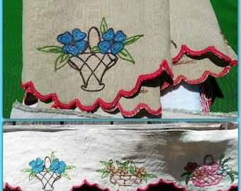 Victorian French Beige Linen ShelfEdging Home Decor Linen Flower Baskets Hand Embroidered Collectible #sophieladydeparis