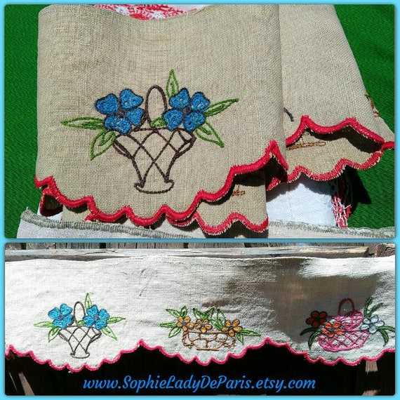 Shelf Edging Victorian French Beige Linen Home Decor Linen Flower Baskets Hand Embroidered Collectible #sophieladydeparis