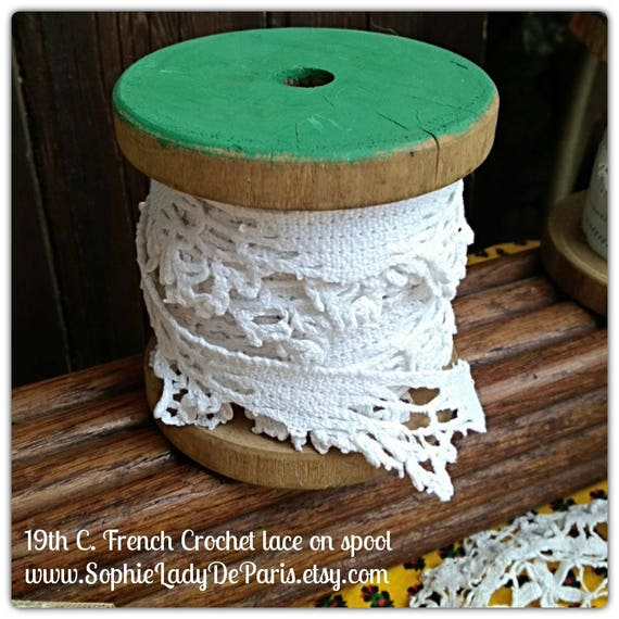 5 Yds Victorian Lace on Wood Spool Antique White French Cotton Crochet Lace Sewing Collectible Decor #sophieladydeparis