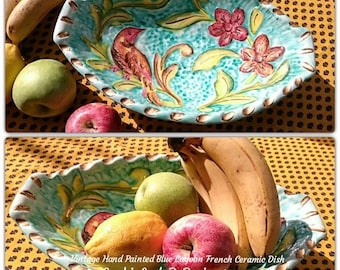 Ceramic Fruit Bowl Handpainted French Provence Pottery Basket Vallauris Bird Flowers Gilded Monaco Style #sophieladydeparis