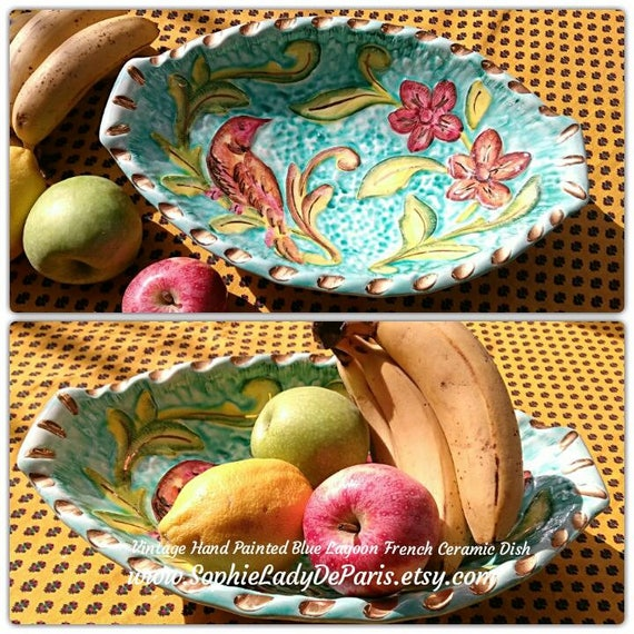 Turquoise Ceramic Fruit Bowl Handpainted French Provence Pottery Basket Vallauris Bird Flowers Gilded Monaco Style #sophieladydeparis