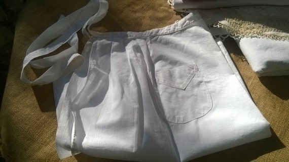 Vintage French Maid Apron White Cotton Front Pocket #sophieladydeparis