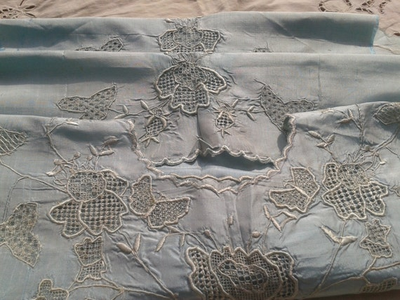 Blue Silk Collar Fabric Floral Embroidered Silk Collar Sewing Project #sophieladydeparis