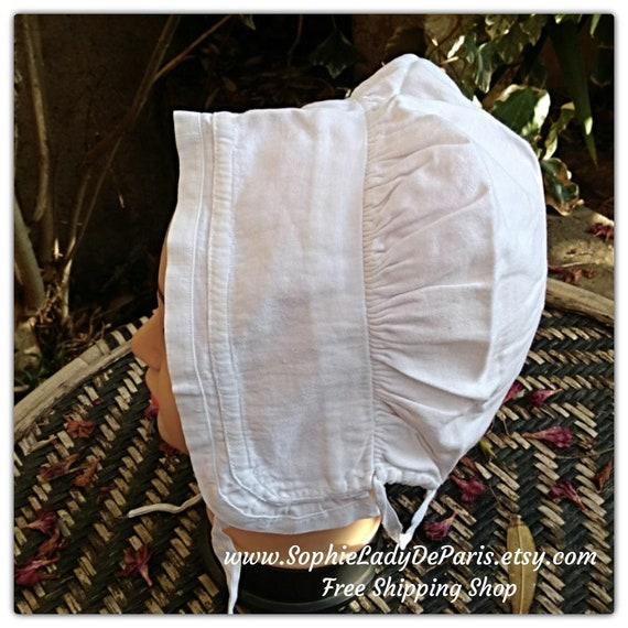 Antique White Women Bonnet Cotton Hat Clothing for Costumes ref 2B #sophieladydeparis