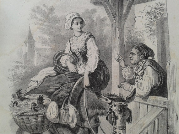 French Engraving 1864-1896 Antique Drawing Magasin des Demoiselles Magazine Lithography Plate Paris Villager Donkey #sophieladydeparis