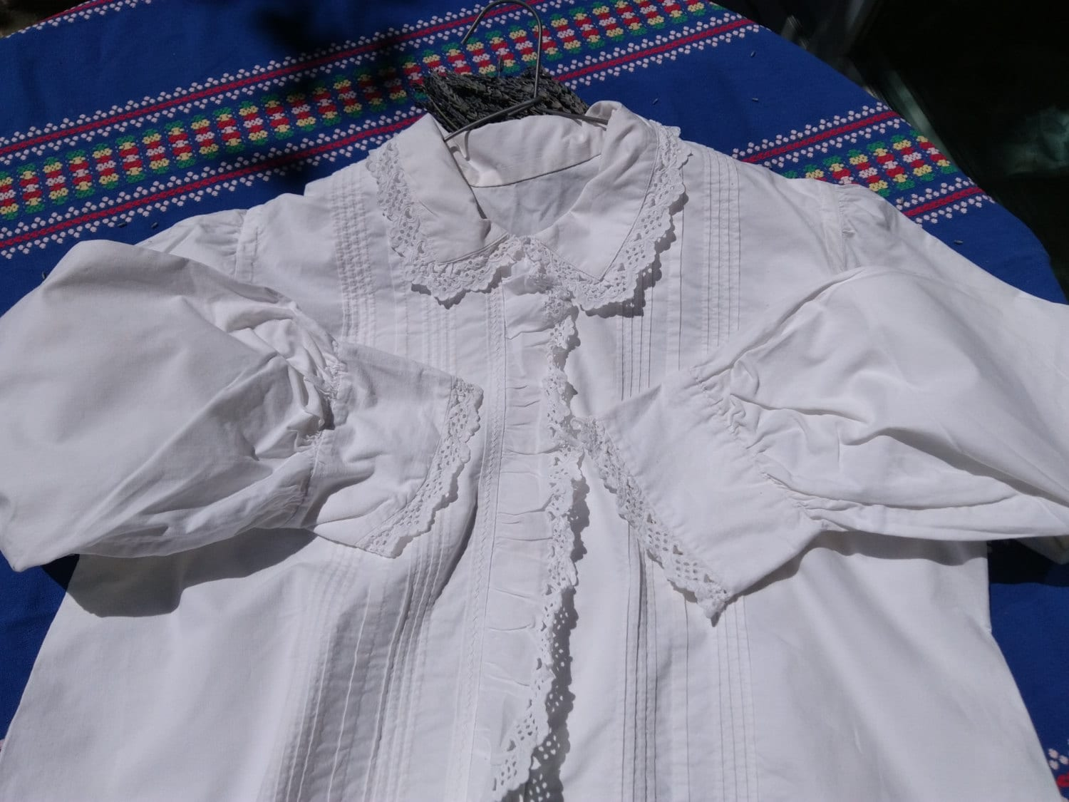 6aed30477e0d48 Antique Blouse 1900s Eyelet Lace Ruffled White Cotton Shirt French ...