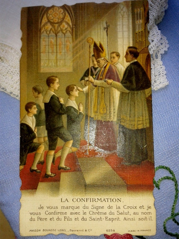 Antique French 1931 Religious Card Colored Drawing  Scalloped Edges Showing Bishop Blessing Boys Dated Ink Handwritten #sophieladydeparis
