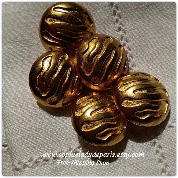 5 Embossed Wave Button Gold Dome Buttons Vintage 80's French Buttons High Quality Buttons #sophieladydeparis