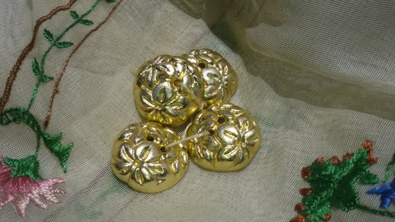 4 Gold Buttons Embossed French Floral Buttons Metallic Unused Vintage Buttons Jewelry Assemblage #sophieladydeparis