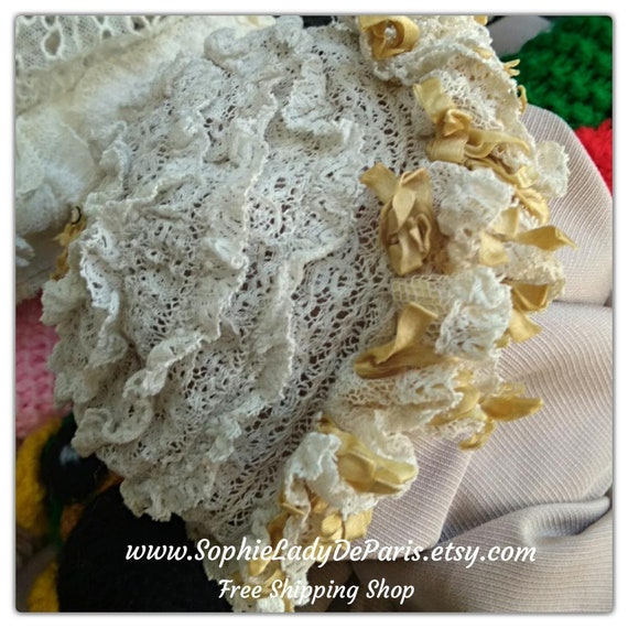 Victorian Baby Bonnet White Ruffled Lace and Yellow Bow Silk Ribbons Antique French Baby Hat #sophieladydeparis