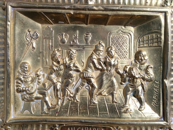 Au Cabaret by Raphael Art Work Plaque Repousse Brass Antique French 1880's Middle- Age Tavern Scene #sophieladydeparis