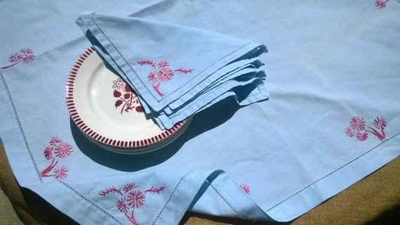 Antique Pastel Blue French Cotton Tea Tablecloth Matching Napkins Set Red Flowers Embroidered Ladder Cut Worked #sophieladydeparis