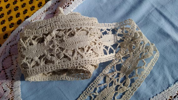 3 yards French Lace + Home Decor Bobbin Lace Long Beige Cotton French Shelf Edging Home Decor Lace #sophieladydeparis