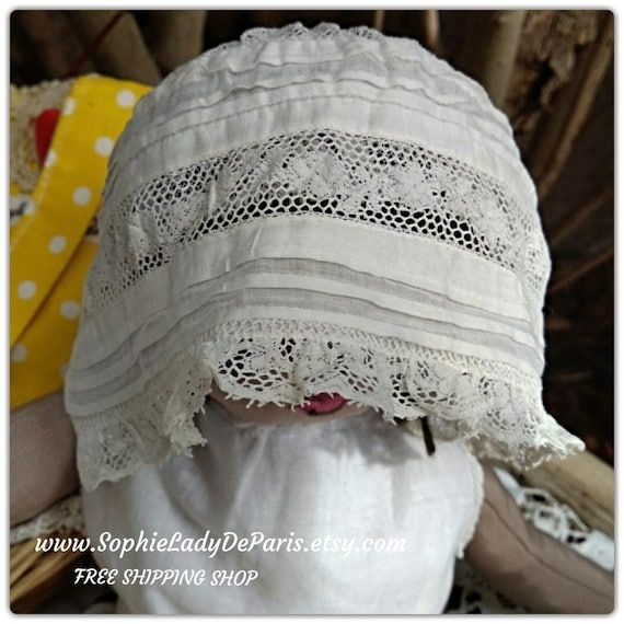 Victorian Lacy Doll Bonnet White Cotton Lace Inlays Antique French Doll Hat #sophieladydeparis