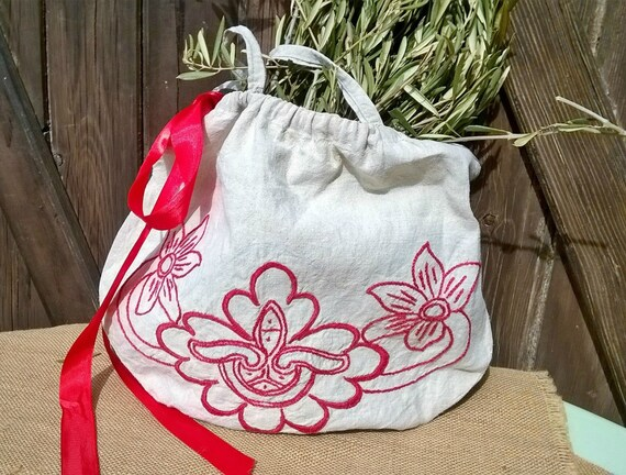 Linen Bag Antique Natural Linen Purse Handmade French Red Work Hand Embroidered Bag #sophieladydeparis
