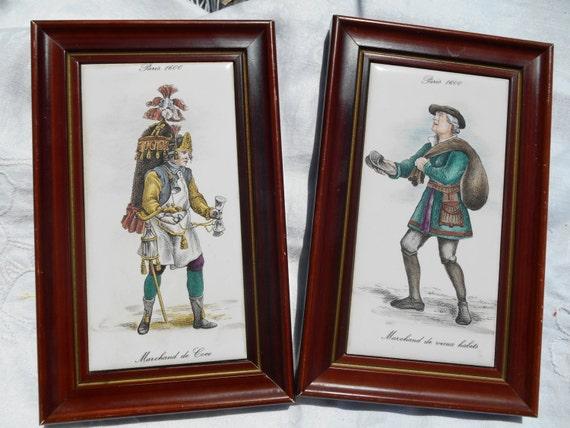 2 Paris Renaissance Jobs Tiles Chocolate & Rugs Street Vendors  1600 Renaissance Costumes Porcelain Drawing Wood Frame #sophieladydeparis