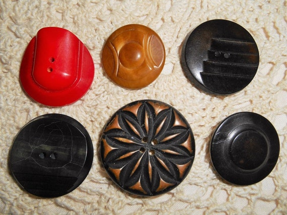 6 Buttons Authentic Art Deco French Buttons Wood and Bakelite from 1930's Misc Match #sophieladydeparis