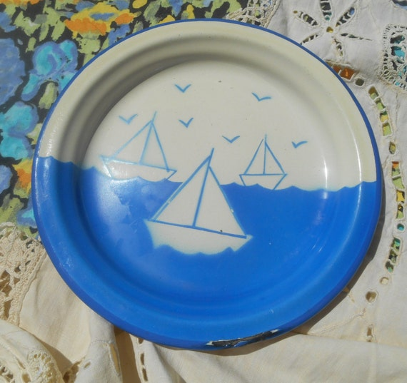 Sailing Ship Plate Blue and White Enameled Plate Sailing Boats Design #sophieladydeparis