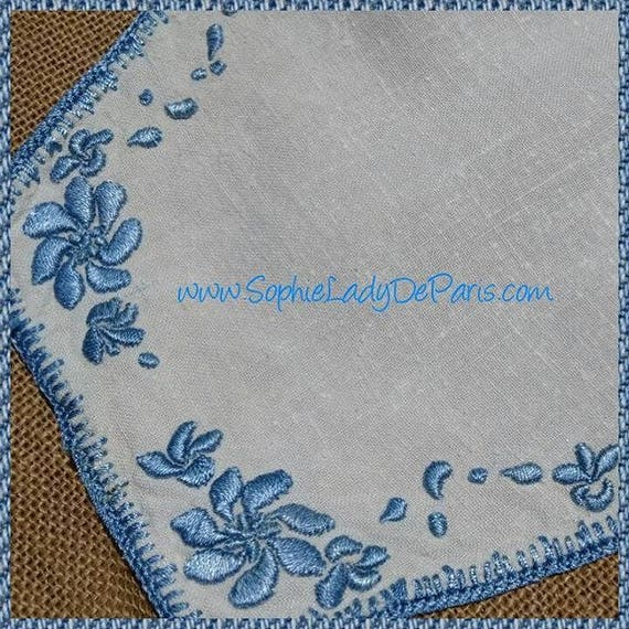 Vintage Doily French White Hemp French Handmade Blue Hand Embroidered Table Center #sophieladydeparis