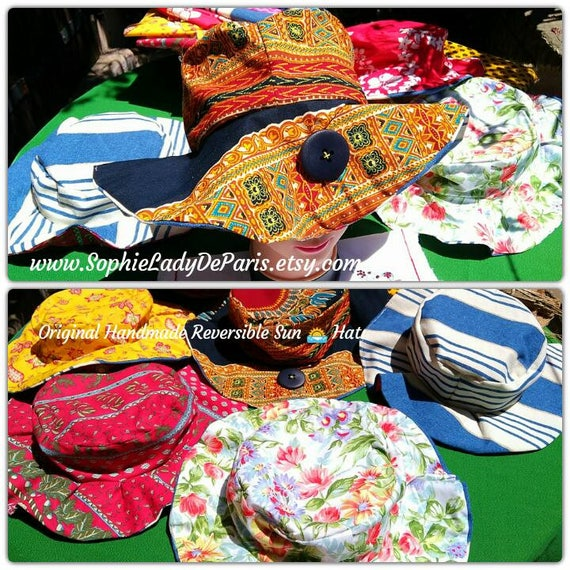 Reversible Sun Hat Navy Blue and Orange Hand Printed Tribal Batik Cotton Handmade Striped Blue White Lined #sophieladydeparis