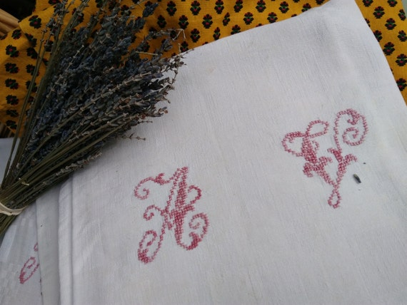 19th Large Damask Napkins Set of 6 Victorian White Linens French Handmade Red Monogram #SophieLadyDeParis