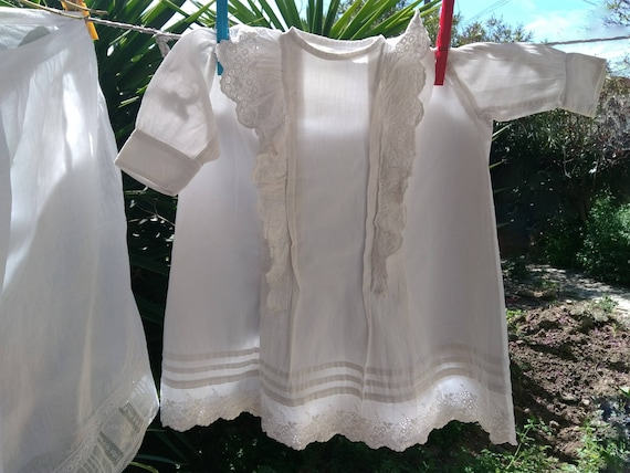 Vintage French Christening Gown White Ribbed Cotton Romantic Baby Dress Hand Embroidered Eyelet Lace Tiers Doll Costume #sophieladydeparis