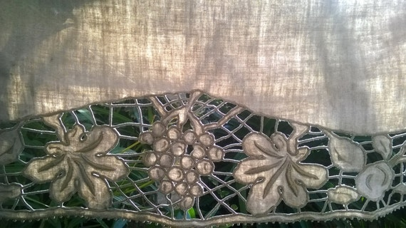 Victorian Runner Gray French Metis Linen Runner Handmade Leaves and Grapes Hand Embroidered Cut Work #sophieladydeparis