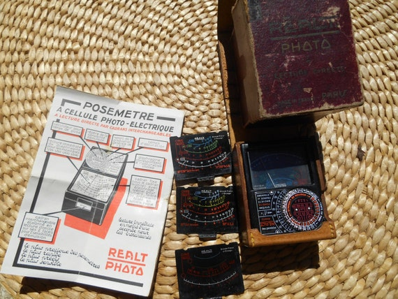 Rare 1940's French Realt Paris Light Meter Burgundy Box Instruction Leather Case #sophieladydeparis